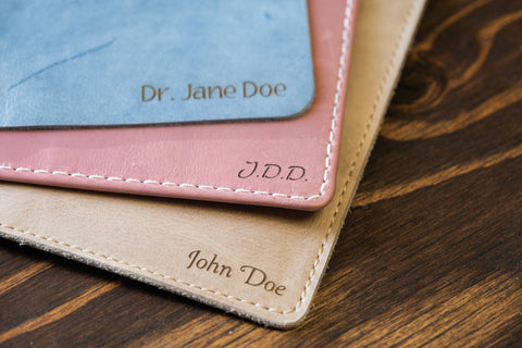 Name printed on leather