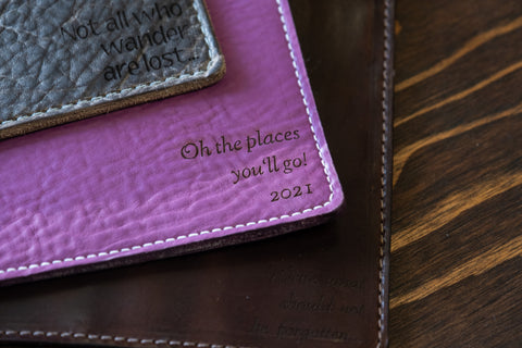 Custom quotes on leather notebook cover