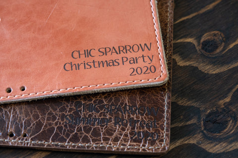 Company name printed on leather