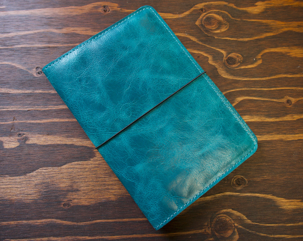 Blue Leather Notebook Cover