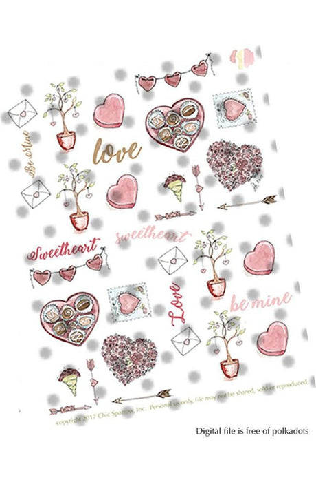 Digital Valentine Hand-drawn Stickers