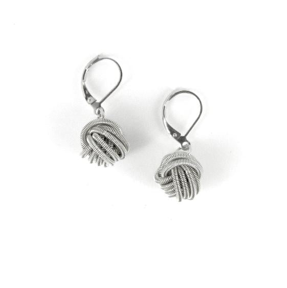 Piano Wire Knot Earrings - Silver
