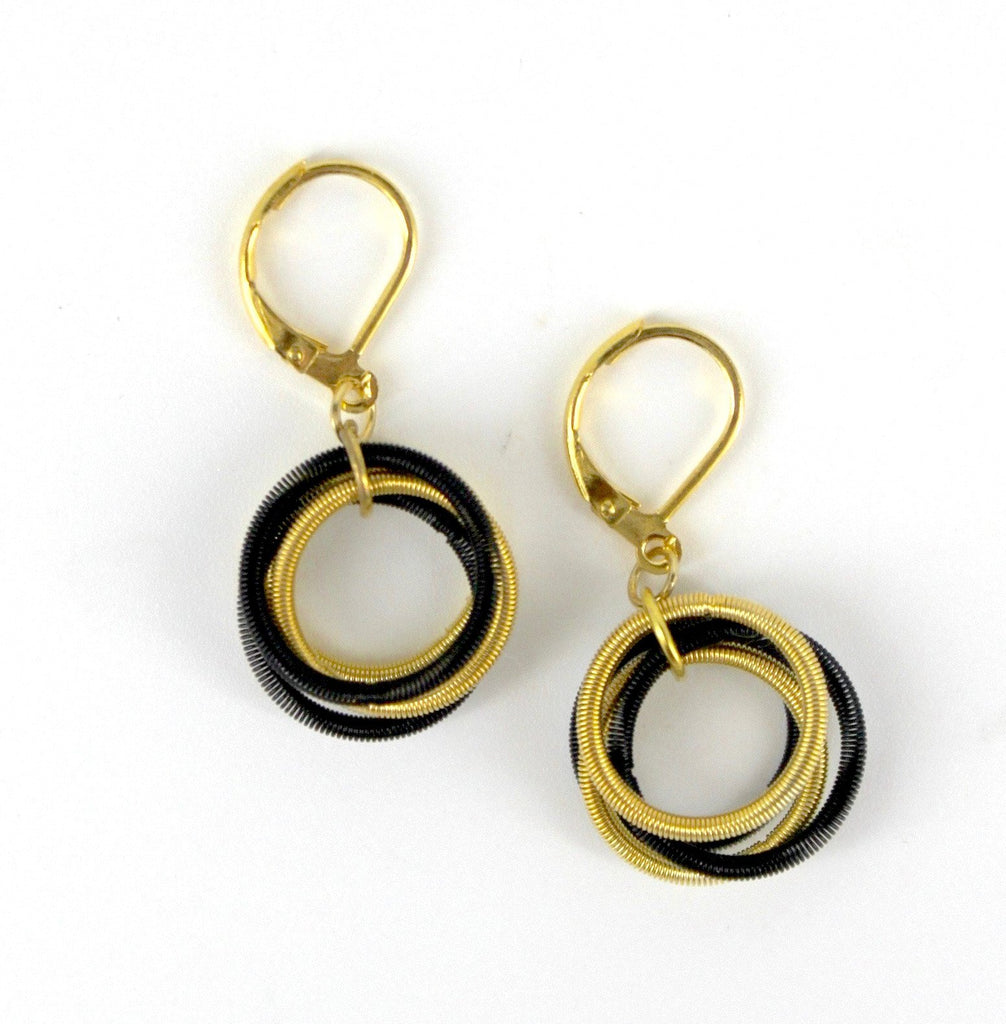 Piano Wire Loop Earrings - Black And Gold