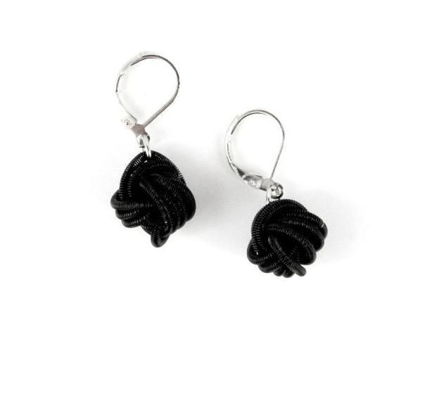 Piano Wire Knot Earrings - Black