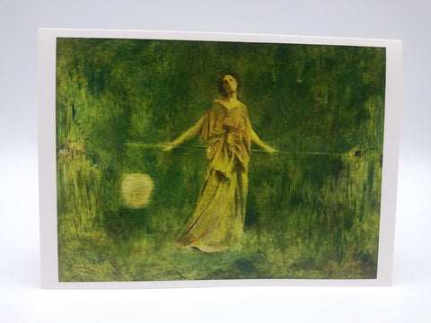 Note Card Featuring Symphony in Green and Gold by Thomas Wilmer Dewing
