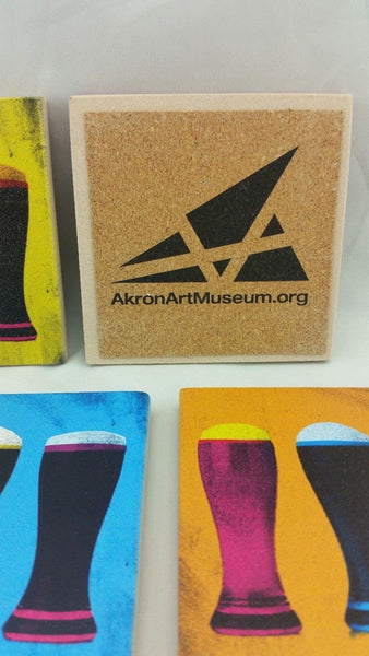 Set of Four Coasters Akron Art Museum Art And Ale