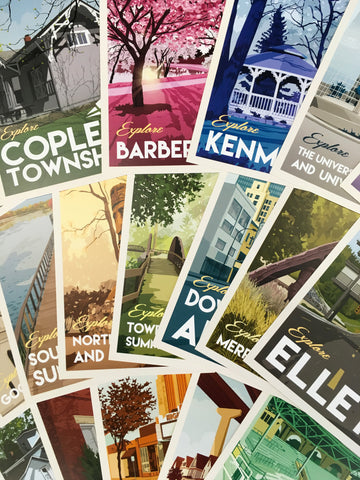 Set of 18 Akron Neighborhoods Postcards