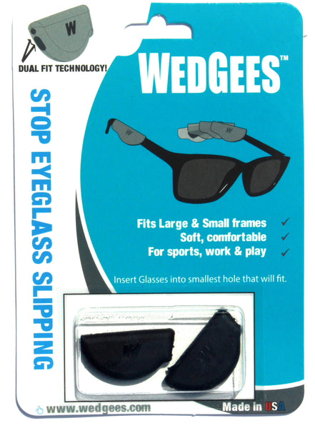 Dual Fit Black Molded Wedgees.   Fits small and Large frames