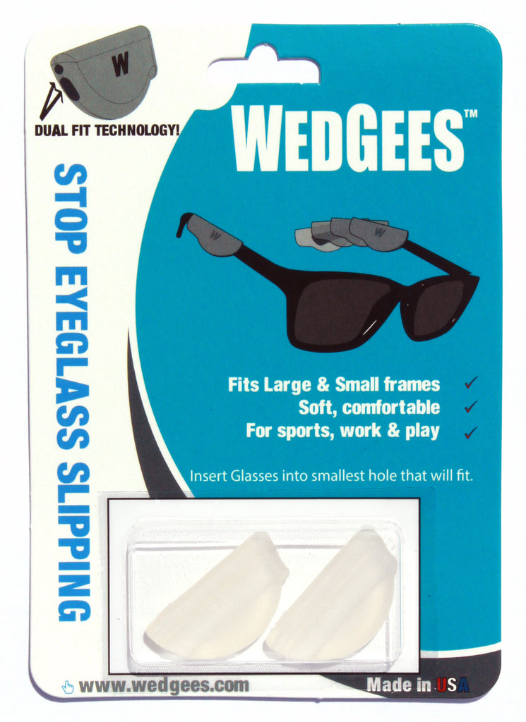 Dual Fit Clear Molded Wedgees.   Fits small and Large frames