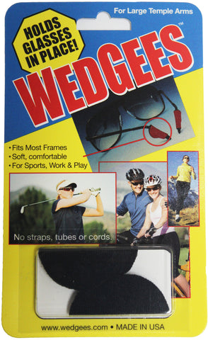 Wedgees Large - Black - Fits Larger Glasses Temple Arms