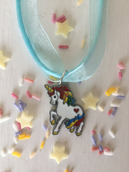 Rainbow Unicorn Blue Gift Necklace