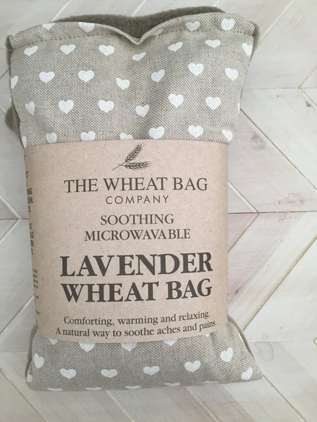 White Heart Print Lavender Wheat Bag