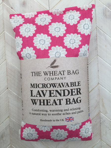 pink retro flower print wheat bag