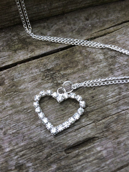 Diamante Love Heart Charm Necklace