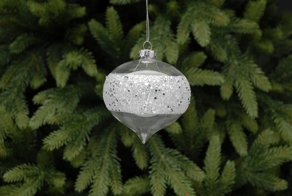 8cm clear glass bauble with silver glitter band