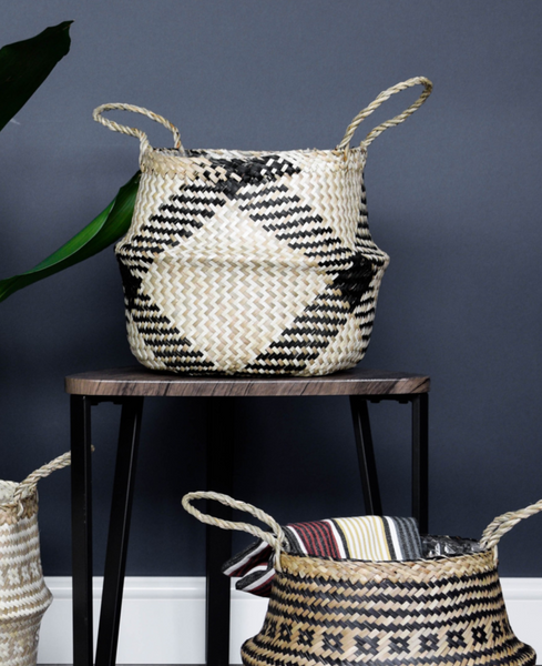 Seagrass Tribal Print Lined Planter Basket