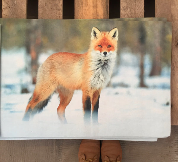 Christmas Fox Print Doormat