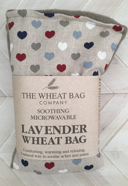 heart print lavender wheat bag