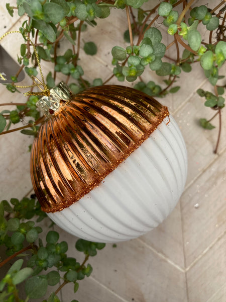 Copper & White Textural Bauble