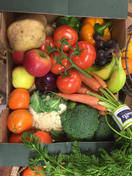 Photo shows an example of one of our £20 Fresh Fruit & Veg Box selections. Please note that your box selection will vary from the photo due to budget and dependant on season & demand