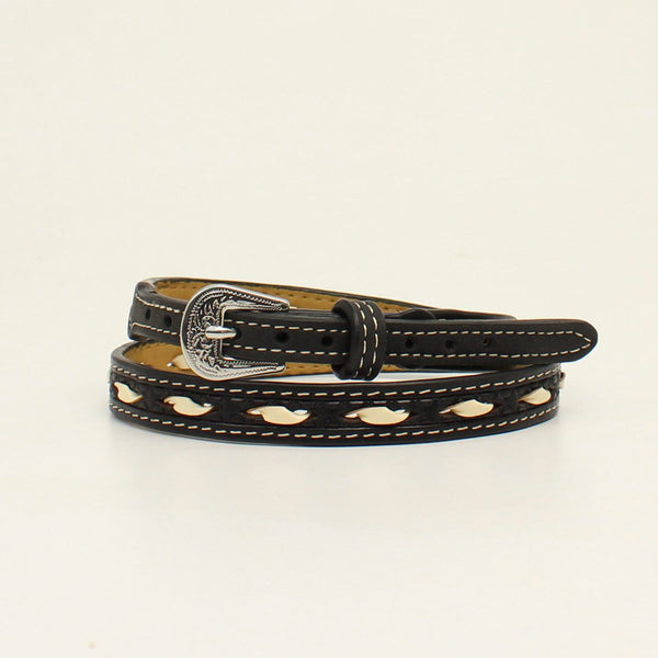 M&F Western Black Leather Hatband with Rawhide Lacing