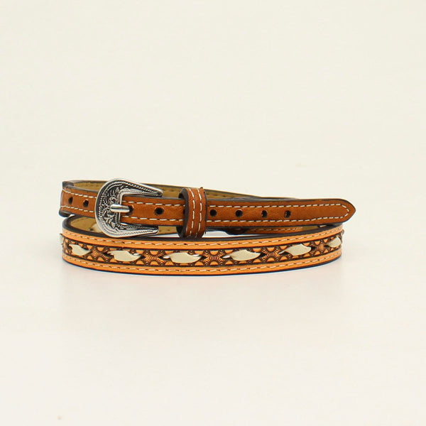 M&F Western Tan Leather Hatband with Rawhide Lacing