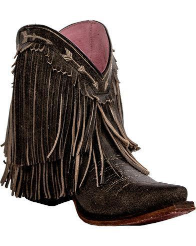 Junk Gypsy Spitfire Fringe Bootie in Distressed Brown - West 20 Saddle Co.