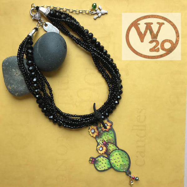 Black Czech Crystal Necklace with Large Cactus Pendant - West 20 Saddle Co.