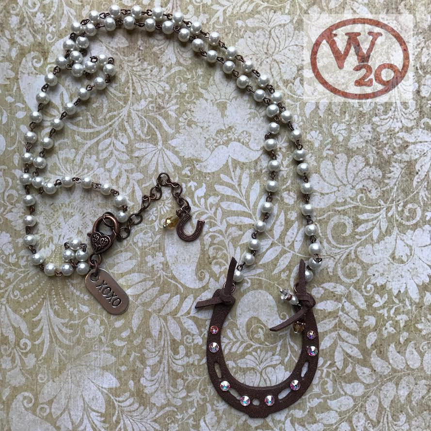 Horseshoe Rosary Bead Necklace