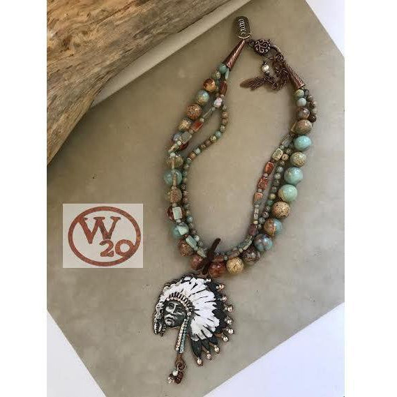 West 20 3-Strand Chief Head Beaded Necklace - West 20 Saddle Co.