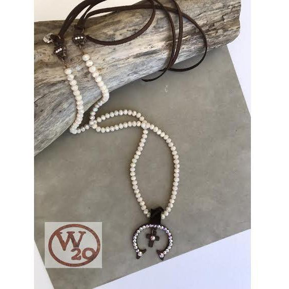White Crystal Squash Blossom With Cross Pedant Necklace - West 20 Saddle Co.
