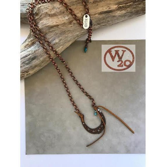 Rustic Horseshoe Pendant on a Copper Linked Chain Necklace - West 20 Saddle Co.