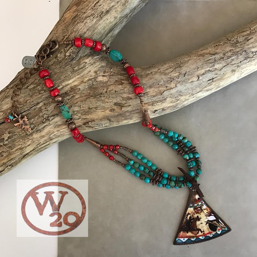Turquoise and Red Beaded Necklace with Teepee Pendant - West 20 Saddle Co.