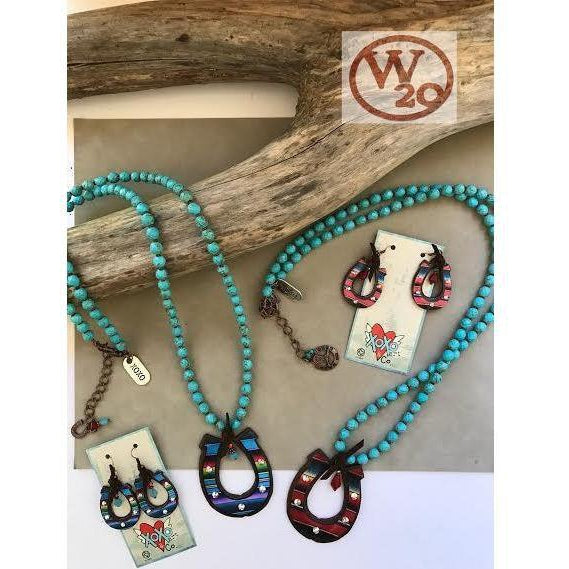 Turquoise Beaded Necklace with Serape Horseshoe Pendant - West 20 Saddle Co.