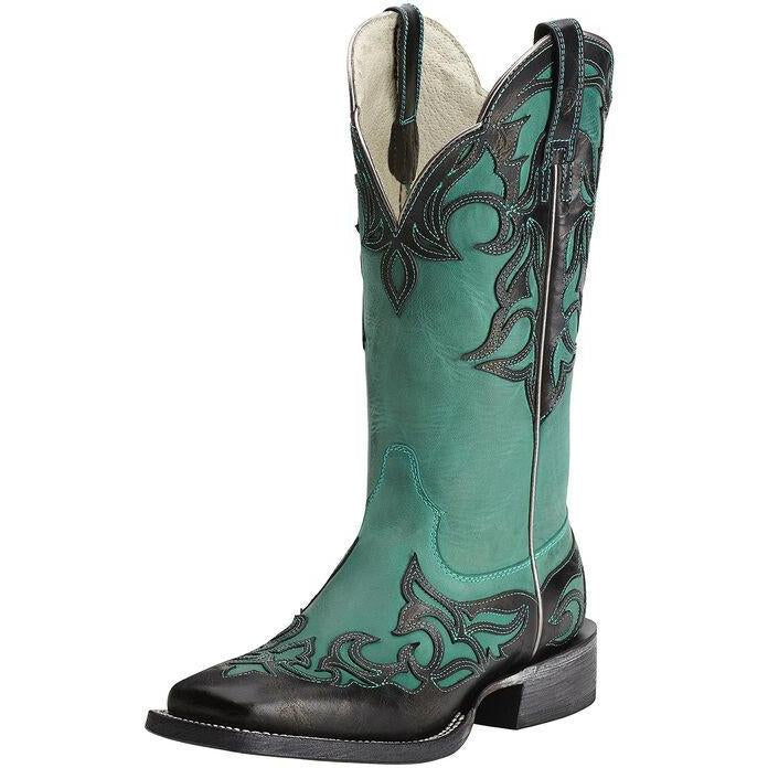 Ariat Women's Cassidy Western Boot-Glazed Midnight/Turquoise