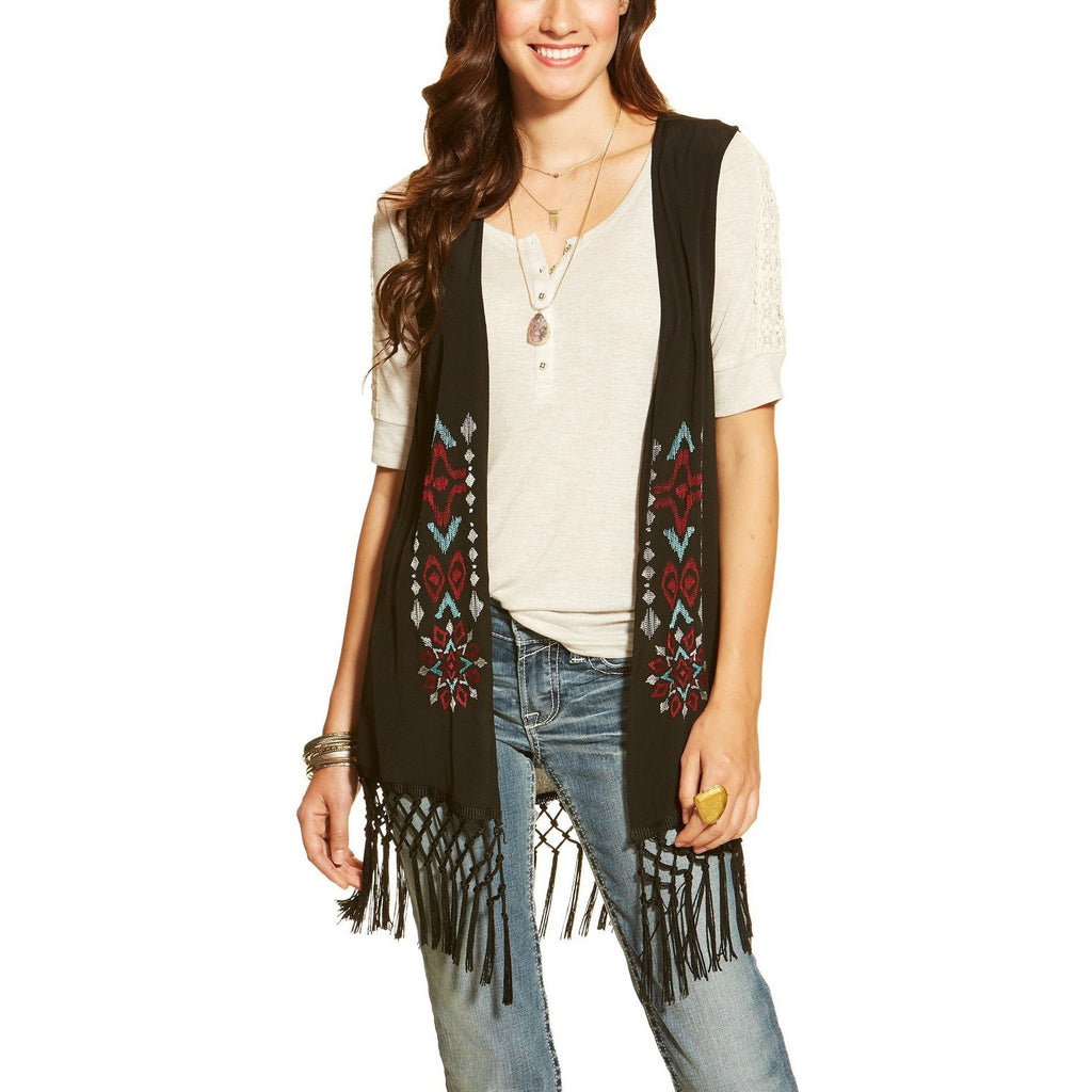 Ariat Bacall Black Fringe Vest - West 20 Saddle Co.