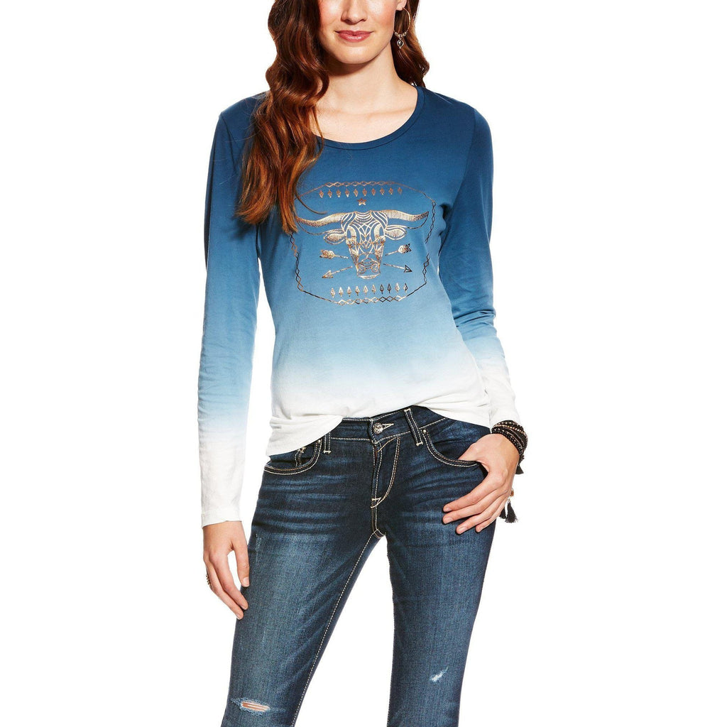 Ariat Ombre Blue Nordic Graphic Top - West 20 Saddle Co.