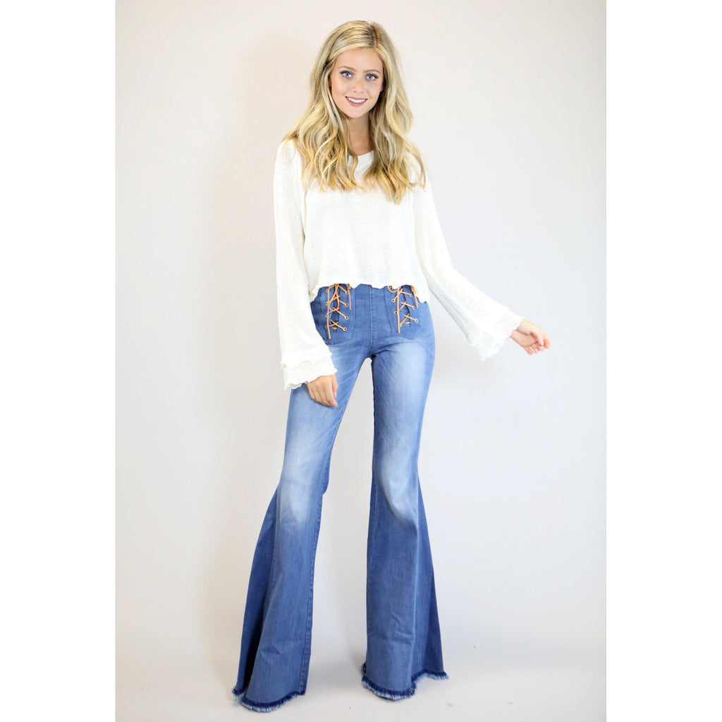 Judith March Stretch Flared Denim Bells with Front Lace Up Detail - West 20 Saddle Co.