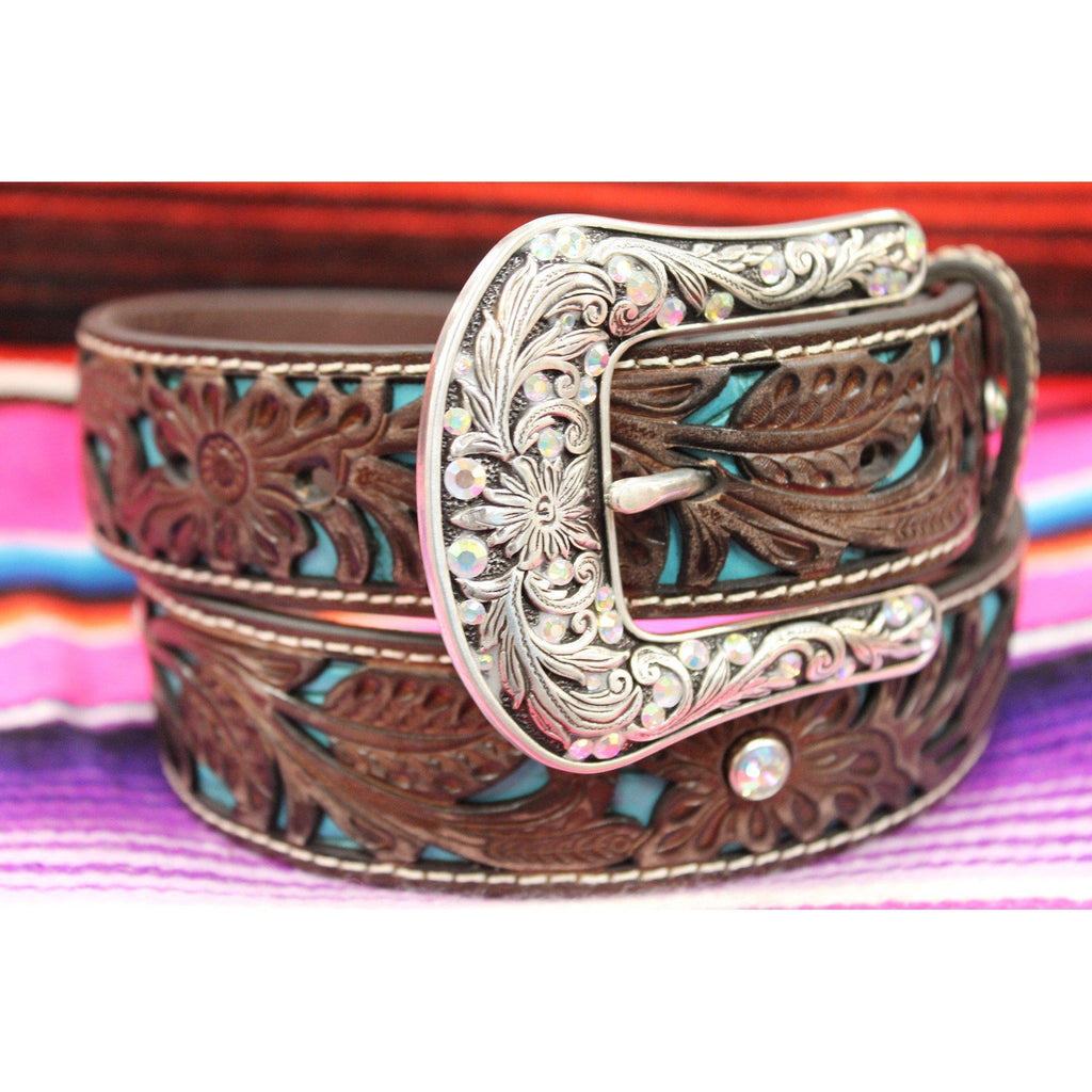 Women's Ariat Floral Embossed Belt with Rhinestone and Turquoise Inlay - West 20 Saddle Co.