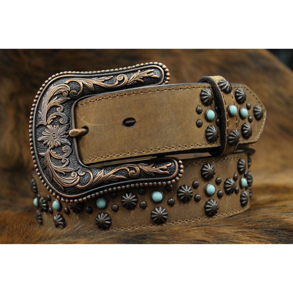Women's Ariat Rough-Out Studded and Turquoise Stoned Belts - West 20 Saddle Co.