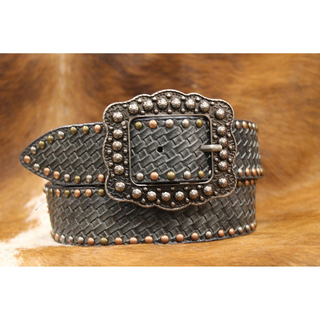 Women's Black Belt with Basketweave Tooling and Southwest Beaded Pattern - West 20 Saddle Co.