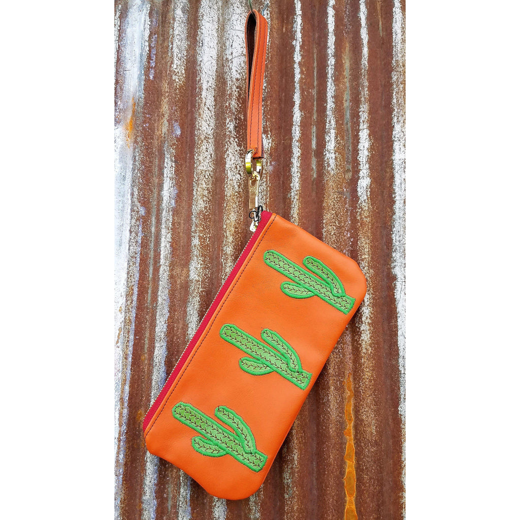KurtMen Bright Orange Green Cactus Accessory Pouches With Wristlet - West 20 Saddle Co.