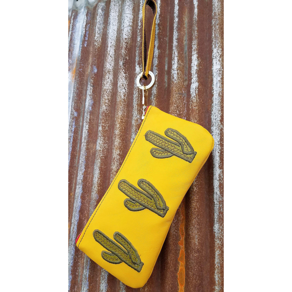 KurtMen Bright Mustard Green Cactus Accessory Pouches With Wristlet - West 20 Saddle Co.