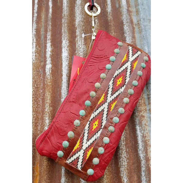 KurtMen Red Bead Pouch With Wristlet - West 20 Saddle Co.