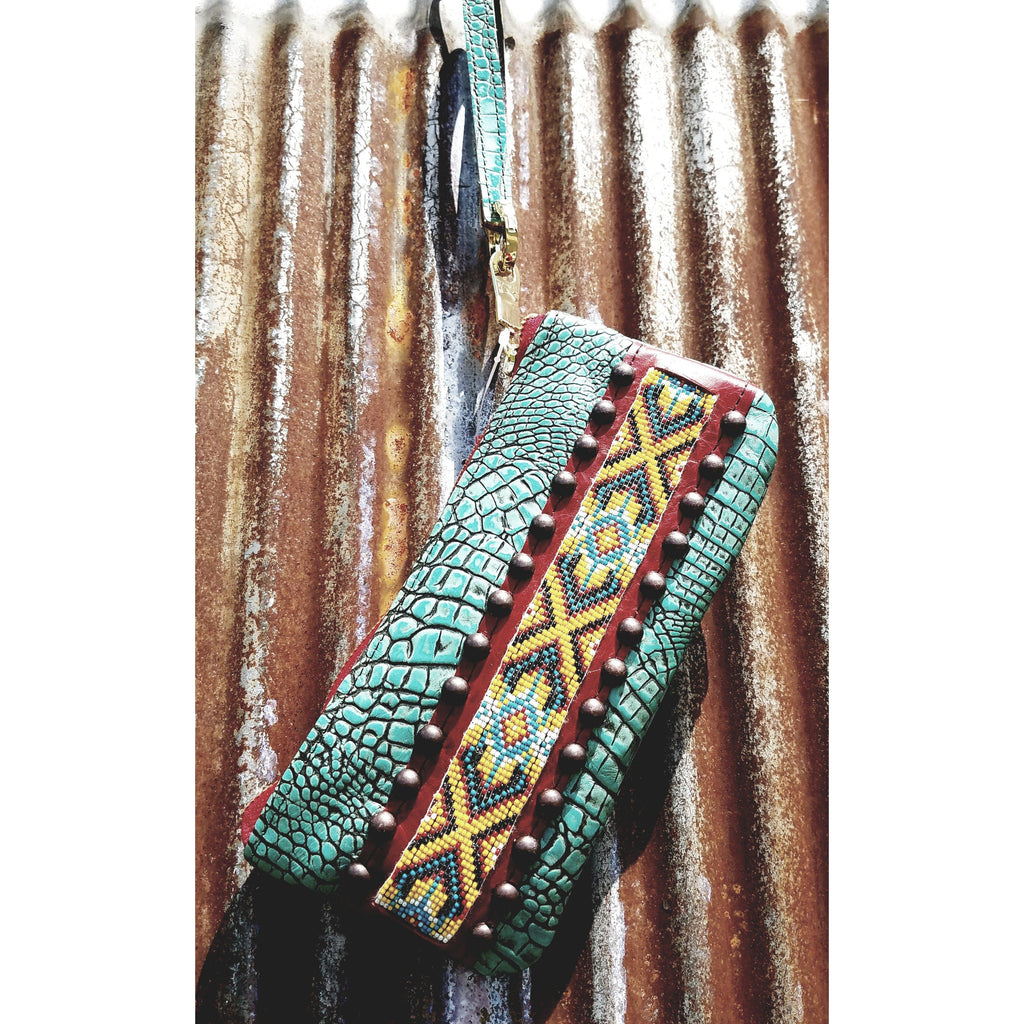KurtMen Antique Turquoise Crocodile Accessory Pouches With Wristlet - West 20 Saddle Co.