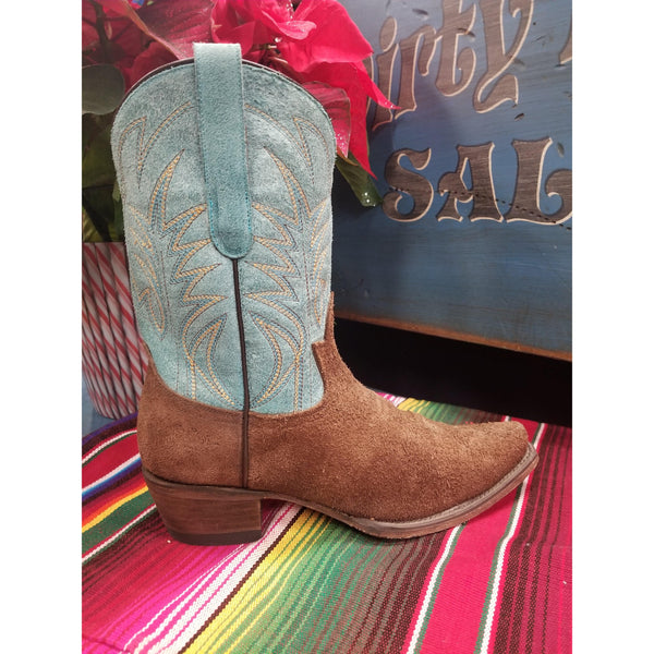 Junk Gypsy Turquoise Chocolate Suede Dirt Road Dreamer Boots - West 20 Saddle Co.