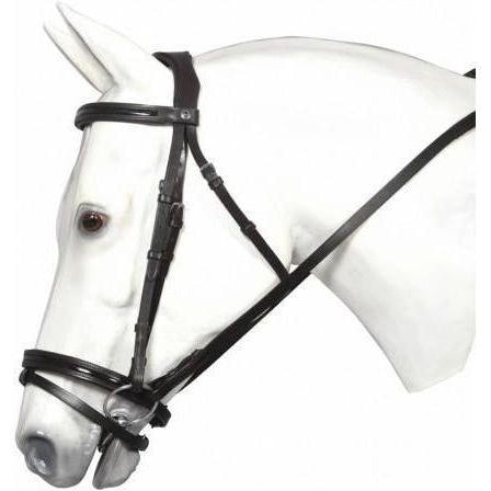 Henri de Rivel Piaffe Mono Crown Bridle With Flash Nose Band With Patent Leather - West 20 Saddle Co.
