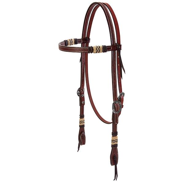 Weaver Leather Basketweave Bridle Leather Browband Headstall with Rawhide Accents, Black Buttons - West 20 Saddle Co.