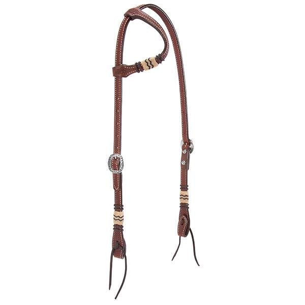 Weaver Leather Basketweave Bridle Leather Flat Sliding Ear Headstall with Rawhide Accents - West 20 Saddle Co.