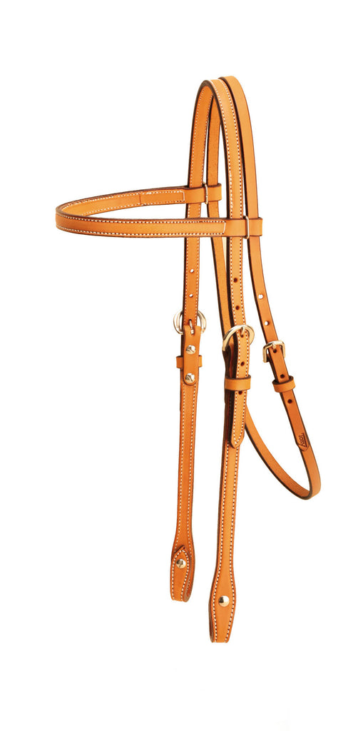 "Tory Leather 5/8"" Double and Stitched Brow Band Headstall"